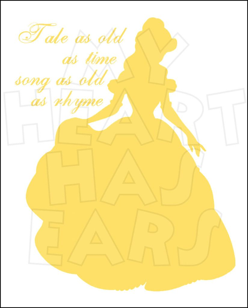 Tale As Old Time Beauty And The Beast Belle Silhouette INSTANT DOWNLOAD Digital Clip