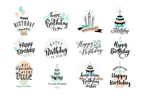 Vector illustration of Happy Birthday badge set by Zaie on @creativemarket