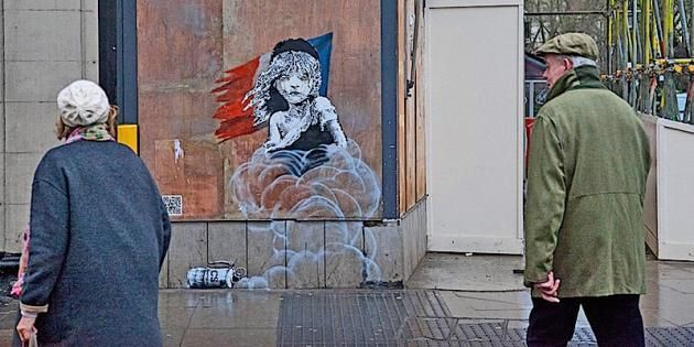 banksy boarded up | Knightsbridge Banksy Criticises Refugee Treatment In Calais Jungle ...