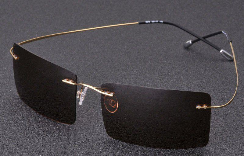 Men's Ultralight Titanium Frame Rimless Sunglasses