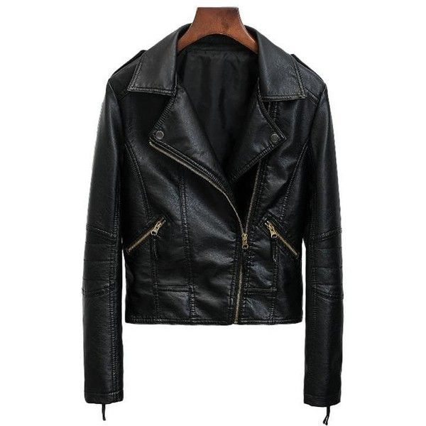 Slim Fit Motorcycle Faux Leather Jacket 50 Liked On Polyvore Featuring Outerwear Leather Look Jackets Faux Leather Motorcycle Jacket Fake Leather Jacket