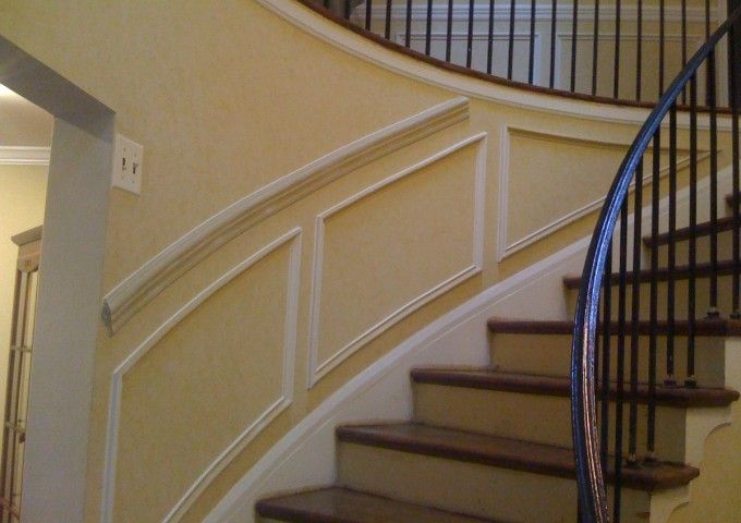 Chair Rail And Boxes Part - 44: Chair Rail And Shadow Boxes On Curved Staircase Wall.