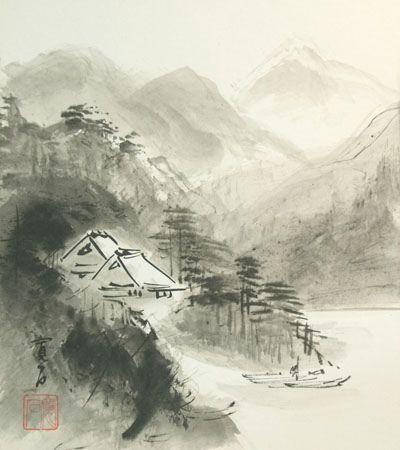 Vintage Japanese Shikishi Art Sumi E Landscape Nihonga By