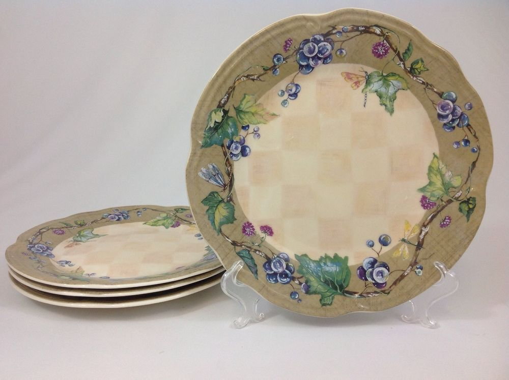 Tracy Porter Claret Collection FOUR 10 3/4   Dinner Plates Purple Grapes Vines # & Tracy Porter Claret Collection FOUR 10 3/4