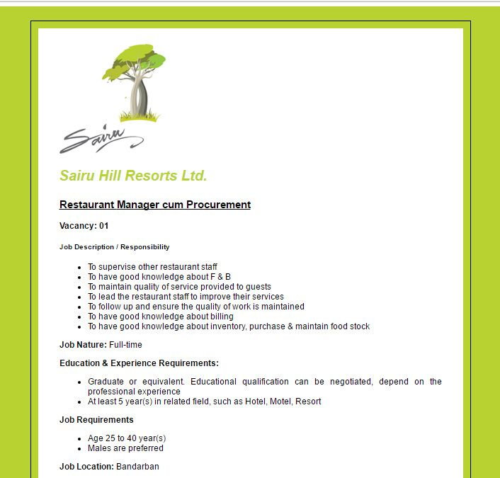 Sairu Hill Resorts Ltd Restaurant Manager Cum Procurement Job