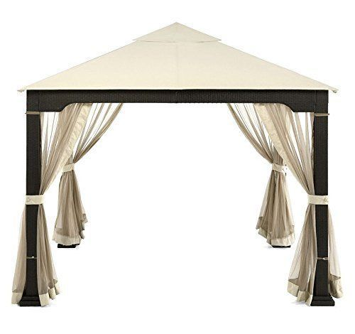 10u0027 x 10u0027 Gazebo Tent Garden Shelter Canopy Rattan Outdoor Patio Backyard New #  sc 1 st  Pinterest & 10u0027 x 10u0027 Gazebo Tent Garden Shelter Canopy Rattan Outdoor Patio ...