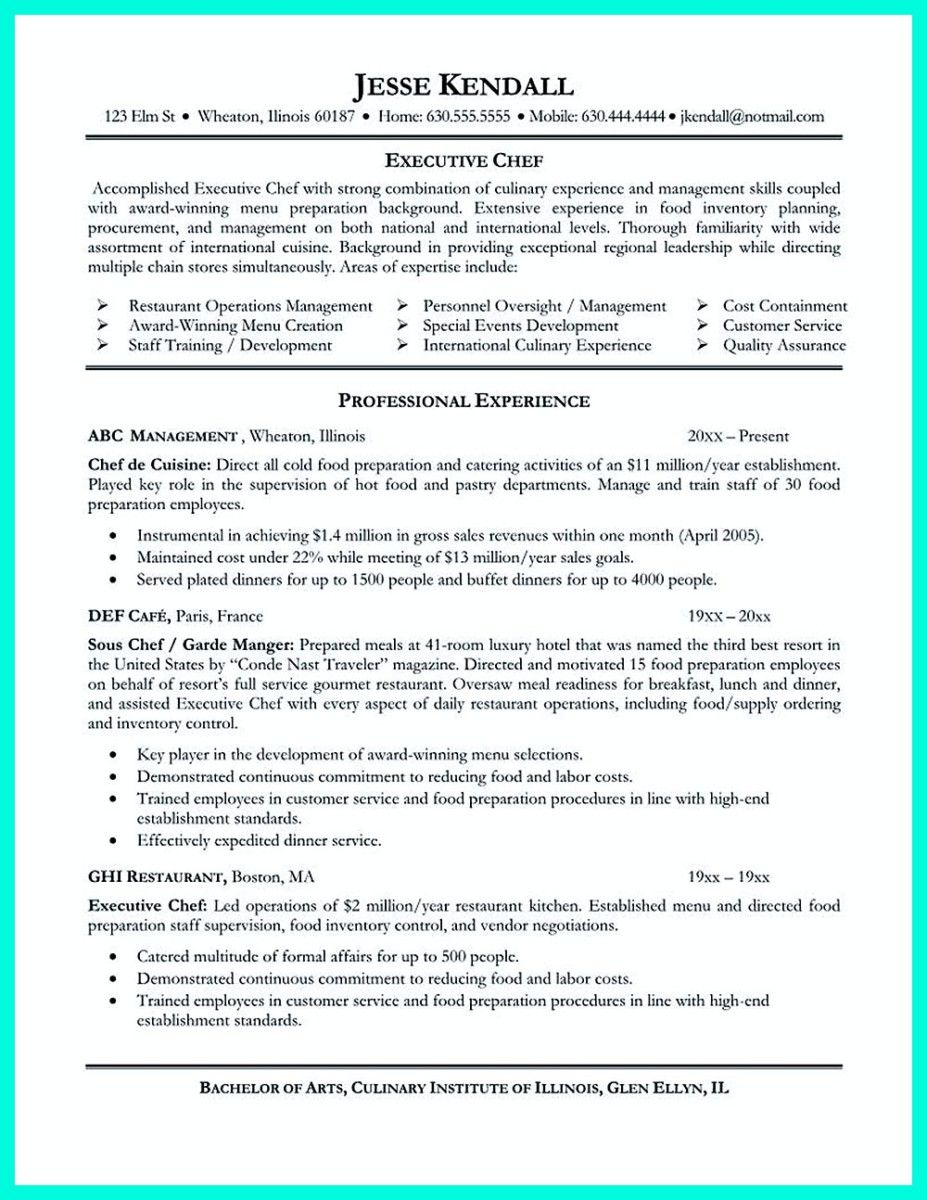 Chef Skills Resume Magnificent Cool Chef Resumes That Will Impress Your Future Company Check More .
