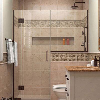 """DreamLine Unidoor-X 67.5"""" x 72"""" Hinged Shower Door Trim Finish: Oil Rubbed Bronze"""