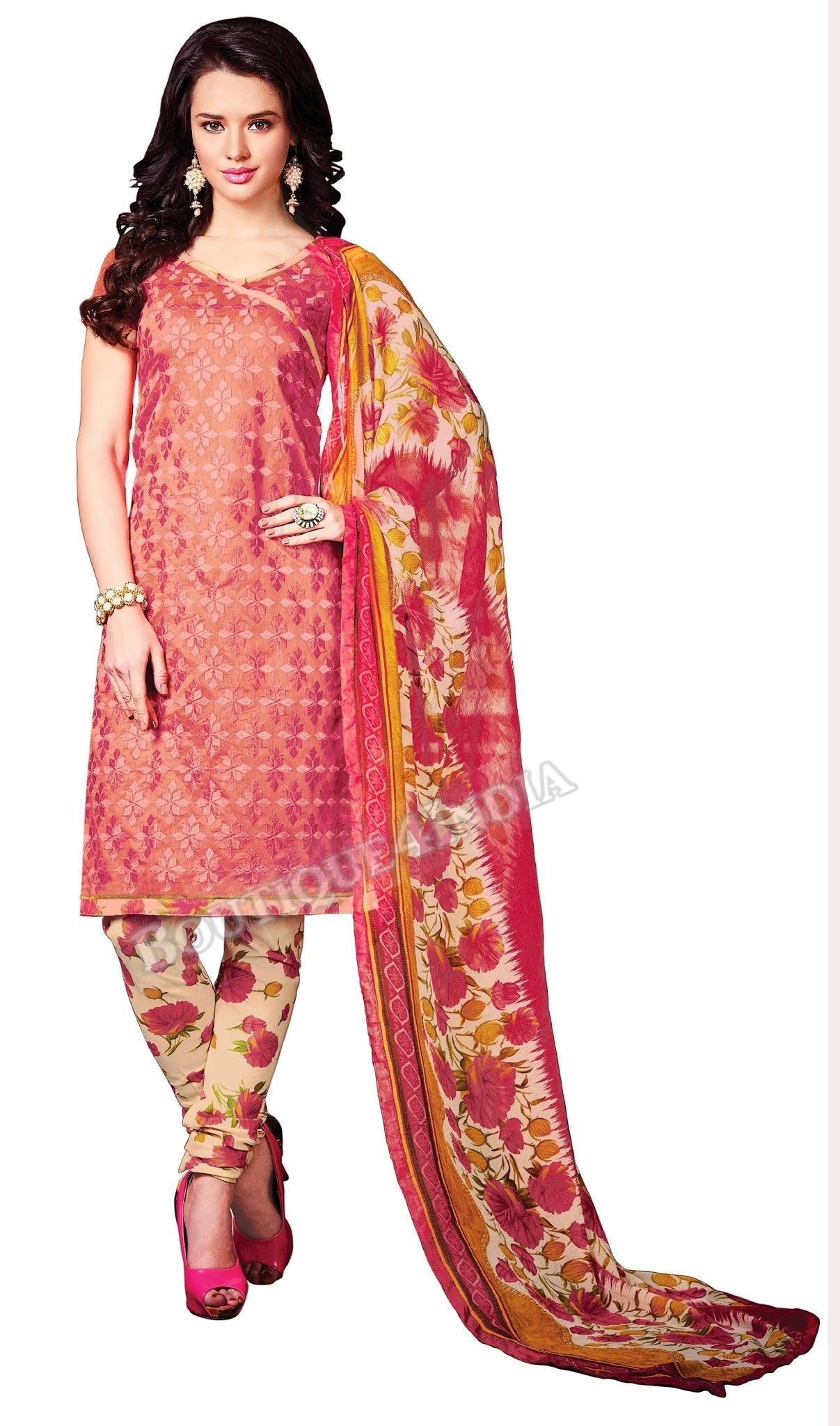 Dark Peach Color Chanderi Straight Cut Salwar Suit