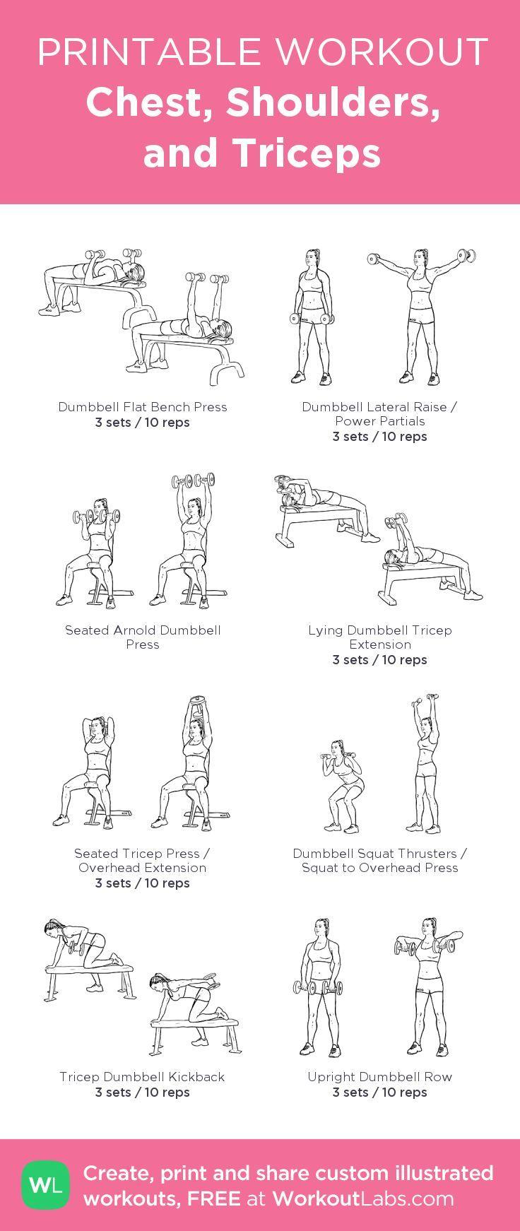Brust, Schultern und Trizeps: mein visuelles Workout, erstellt bei WorkoutLabs.com • … - Mode Frauen 60 #chestworkouts