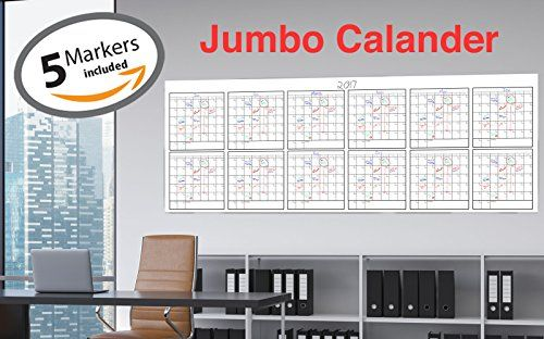 Dry Erase Jumbo Yearly Calendar 36 X 96 Blank Annual Undated Off With Images Dry Erase Wall Calendar Office Walls