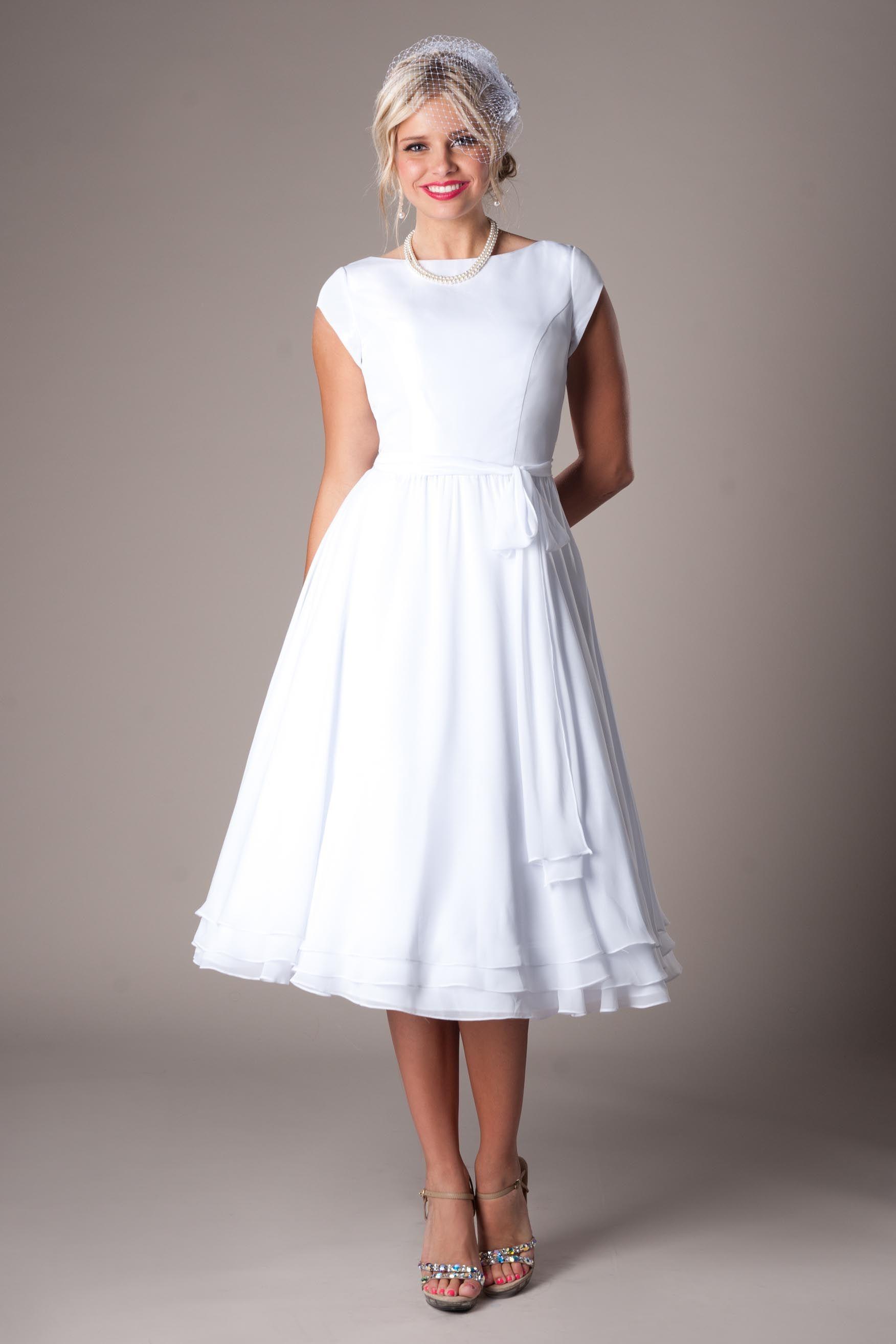 Modest Wedding Dresses : Aniston   Tea length bridesmaid