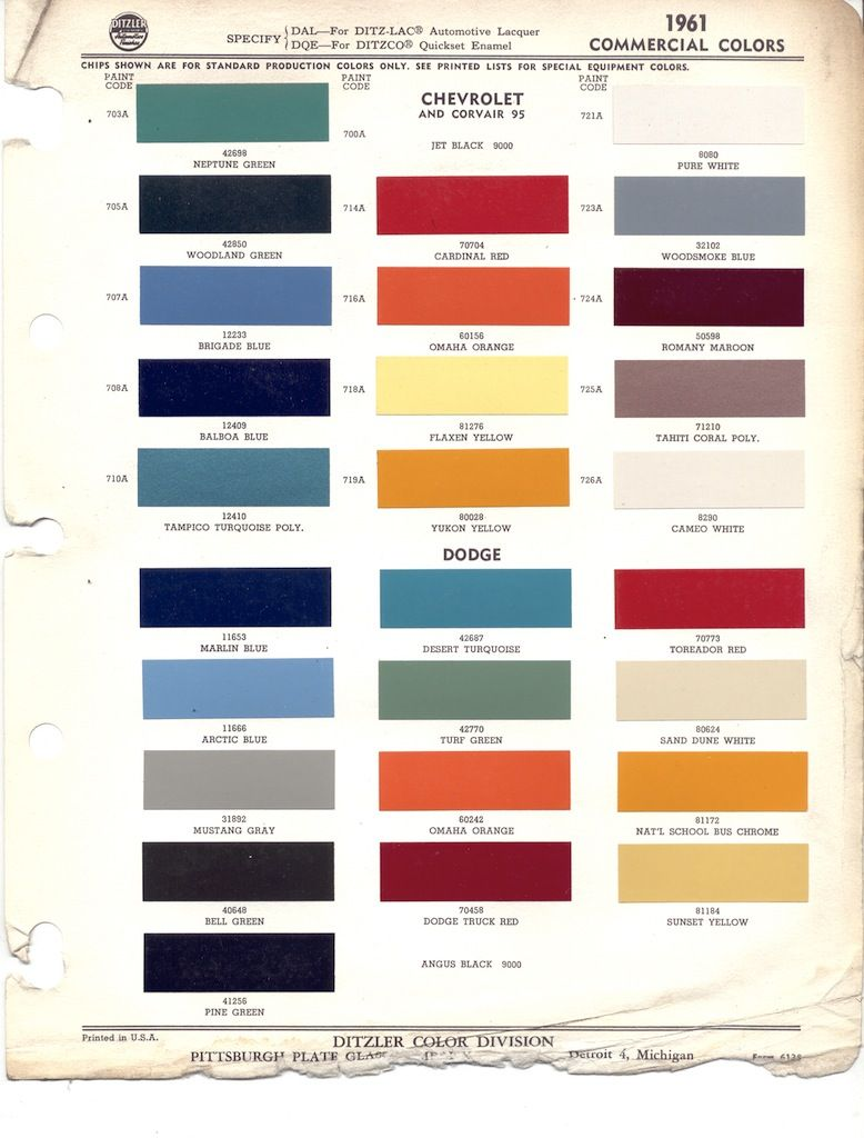 Chevy greenbrier vintage automobile ads pinterest vehicle 1965 chevrolet dodge truck paint color chart ppg 65 in motors parts accessories manuals literature nvjuhfo Choice Image