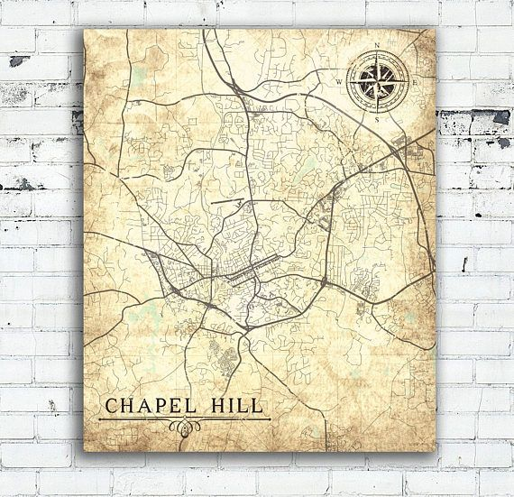 CHAPEL HILL NC Canvas Print City Town Plan Nc North Carolina Vintage