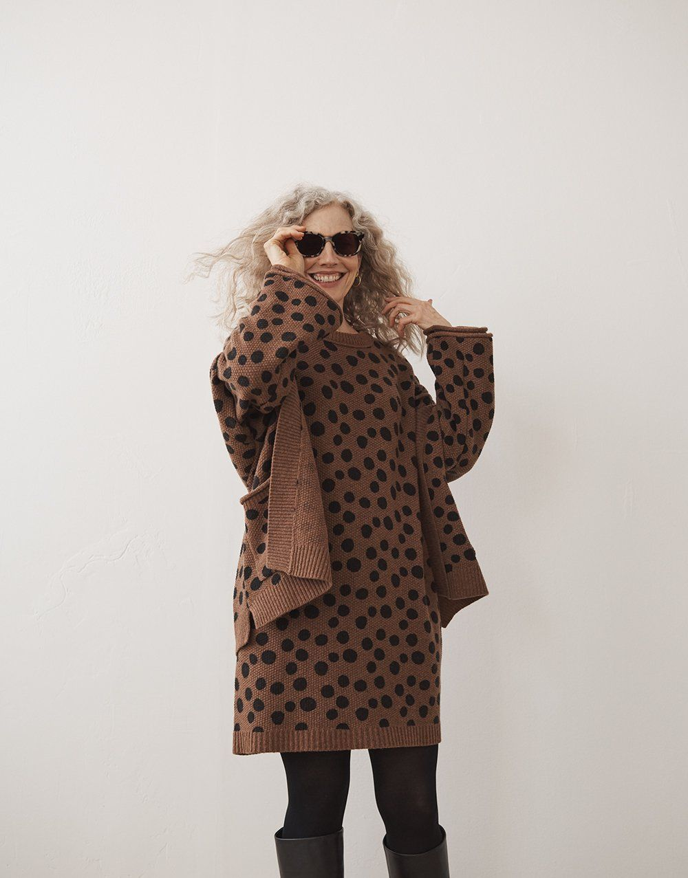41468132ed2a madewell leopard dot sweater-dress worn with leopard dot cardigan sweater,  venice flat-frame sunglasses + the scarlett tall boots.