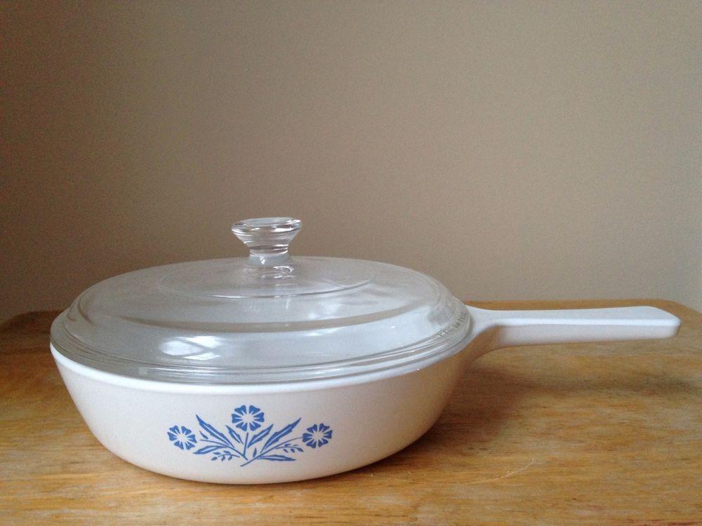 Vintage Blue Cornflower Corningware Small Sauce Pan With