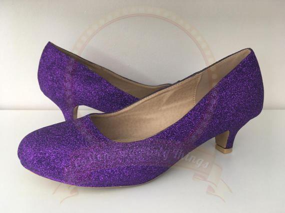 Purple Glitter Kitten Heels Cadbury Bridal Wedding Shoes Bridesmaid Prom Party Customised Uk Size 3 8