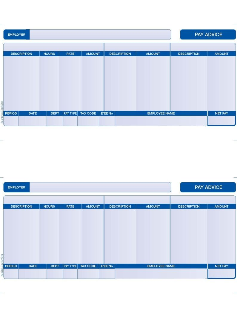 Slpay1 Compatible Sage Payslips 2 Per Page Blue Various