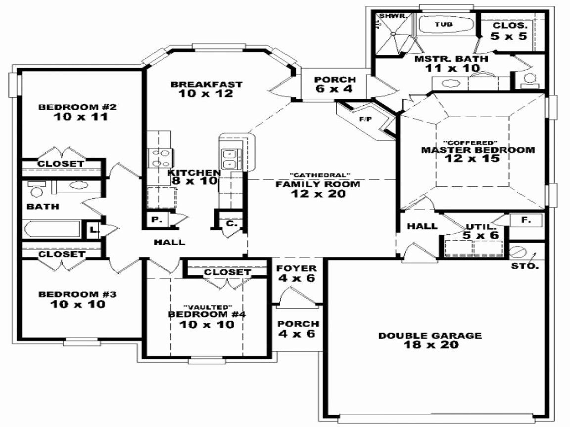 9 Bedroom House Plans Awesome 9 Bedroom E Story 4 Bedroom E Story House Plans One In 2020 One Level House Plans Floor Plan 4 Bedroom House Plans One Story