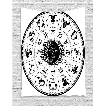 Zodiac Decor Tapestry Minimalist Rounded Symbols Mystical Outer