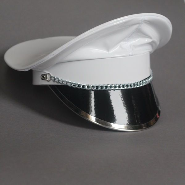 Finest PVC Dominatrix Hat Military Cap Peaked Cap Biker White S M  Adjustable  Ledapol 4a16aa37a9e