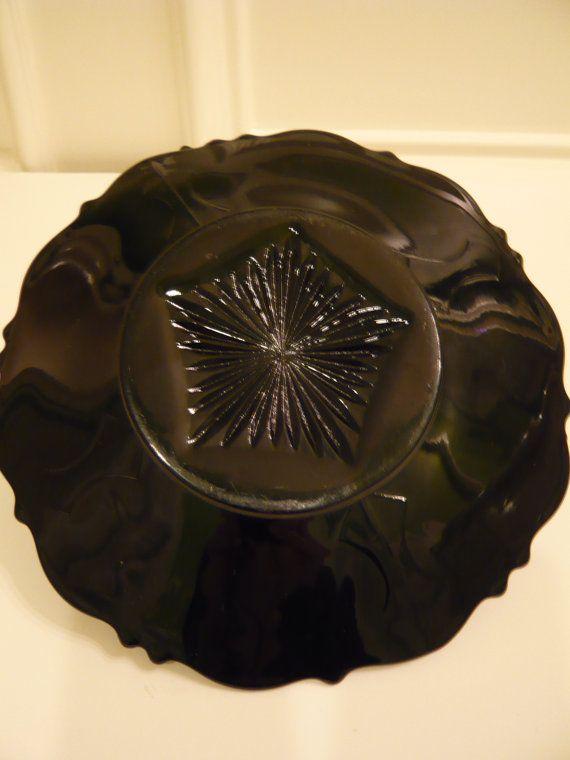 Striking Black Amethyst Depression Glass by isntitlovelyvintage