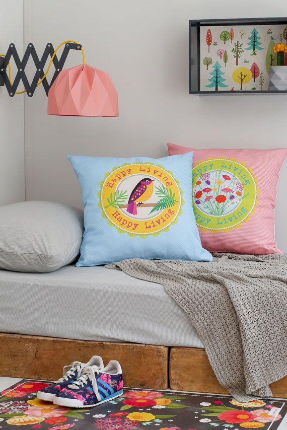 Bird Illustration Decorative Pillow Light by TweelingenHomeDecor