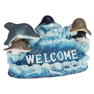 Dolphin Welcome Statue. You can roll out the coastal welcome mat with this school of dolphins who'd love to make a splash in your home or garden. #welcome #welcomesign