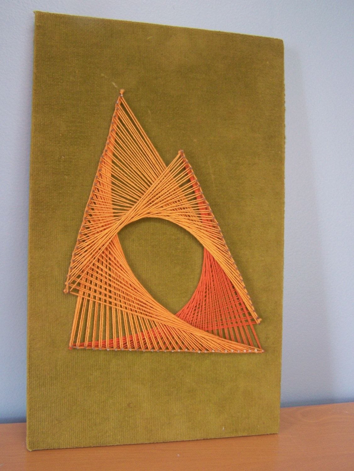 Vintage Mid-Century Wall Hanging – Retro String Art in Orange on ...