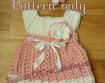Dress and hat pattern 0-6 months Crochet baby by BeautyOfCrochet