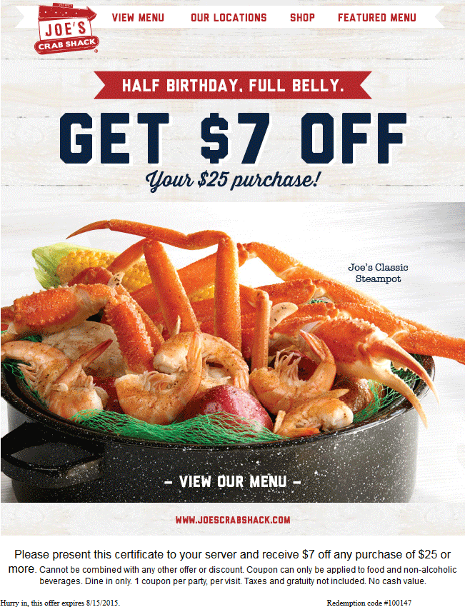 Pinned august 2nd 7 off 25 at joes crab shack restaurants pinned august 2nd 7 off 25 at joes crab shack restaurants coupon via the coupons app fandeluxe Choice Image