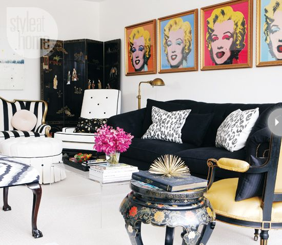 Hollywood glitz  This eclectic living room marries vintage furniture with modern pop art that works thanks to the repeated colour palette throughout the space. The variety (and mix) of seating, as well as the use of colour and pattern, make this room a welcome place for friends and family.