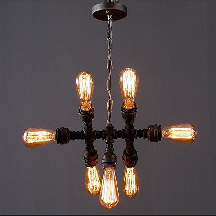 oygroup vintage pendant lights avec lampe pendante en fer repasser 7 ttes avec style industriel e26 support de lampe sans ampoule amazonfr - Interrupteur Style Industriel