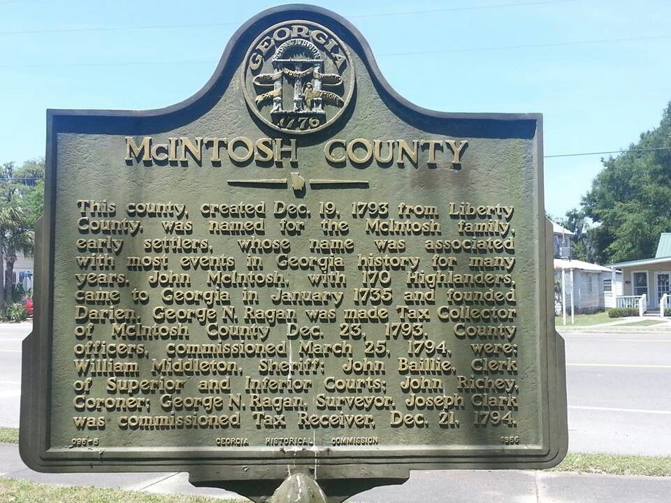 McIntosh County Historical marker in Darien, GA | Clan