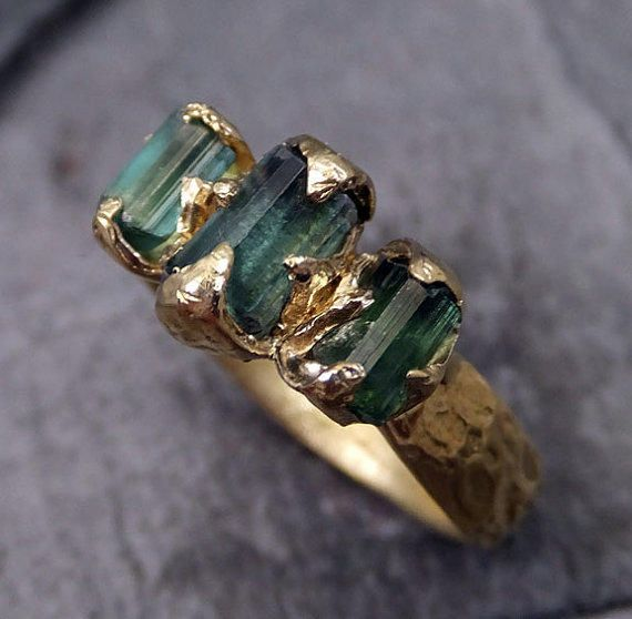 Raw Green Tourmaline Gold Ring Rough Uncut Gemstone tourmaline recycled 18k stacking Multi stone statement byAngeline from byAngeline on Etsy.