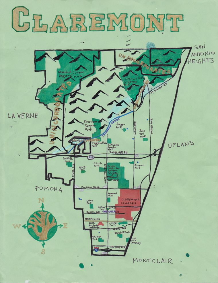Claremont California Map Pin by Roger Swartz on My Claremont Pomona | Claremont california