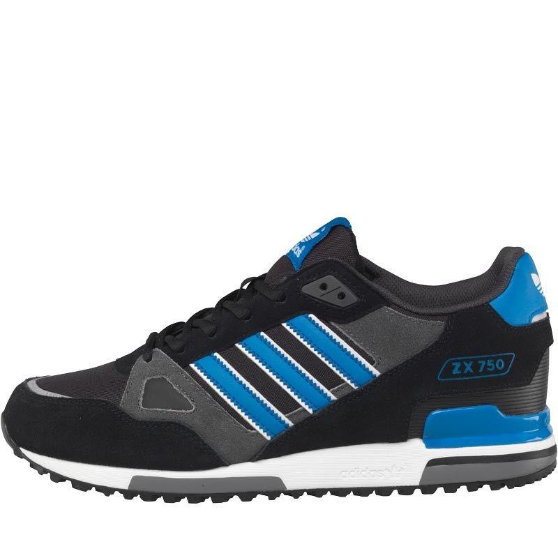 Fashion Adidas Originals Zx750 Trainers Mens Black/Bluebird/White Online Shopping