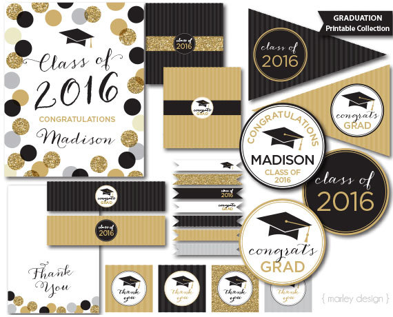 Printable Birthday Decorations Free ~ Graduation party decorations black gold glitter printable graduation