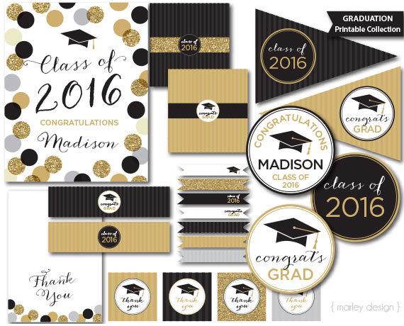 graduation party decorations black gold glitter class of 2017