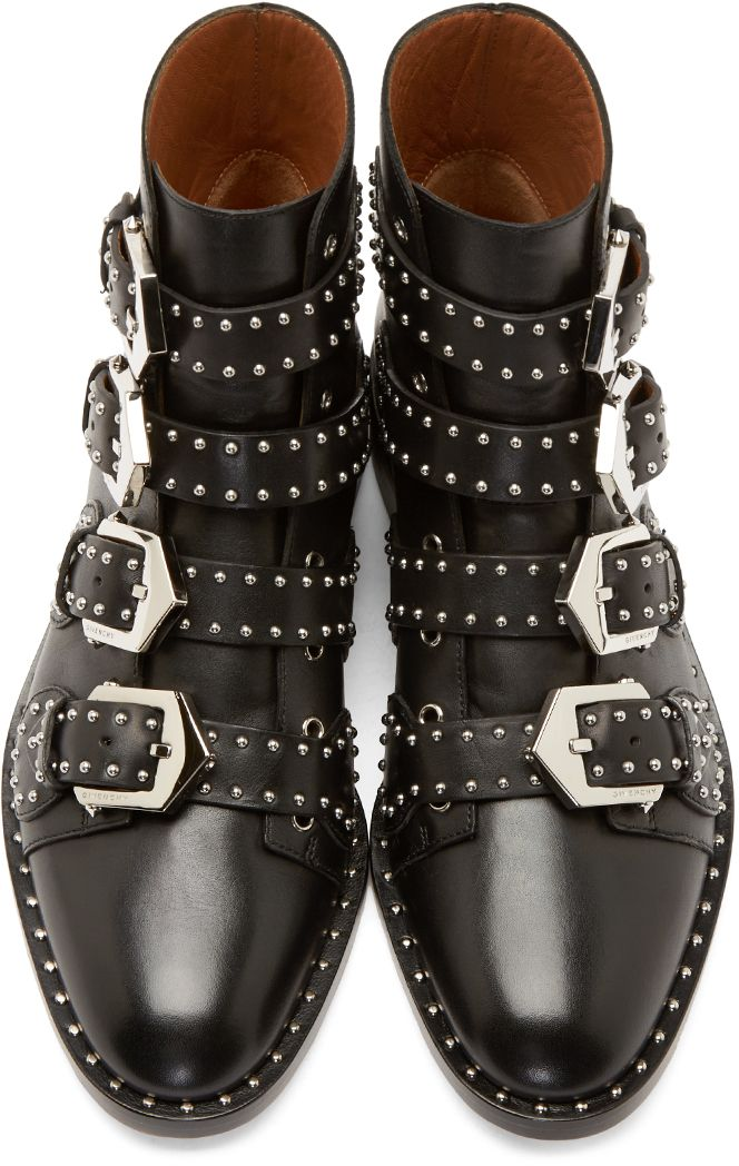 e250cb14c56c Givenchy  Black Studded Multi-Buckle Boots