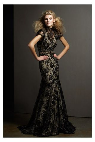Luxurious High-Collar Floor-Length Mermaid Evening Gown with Lace ...