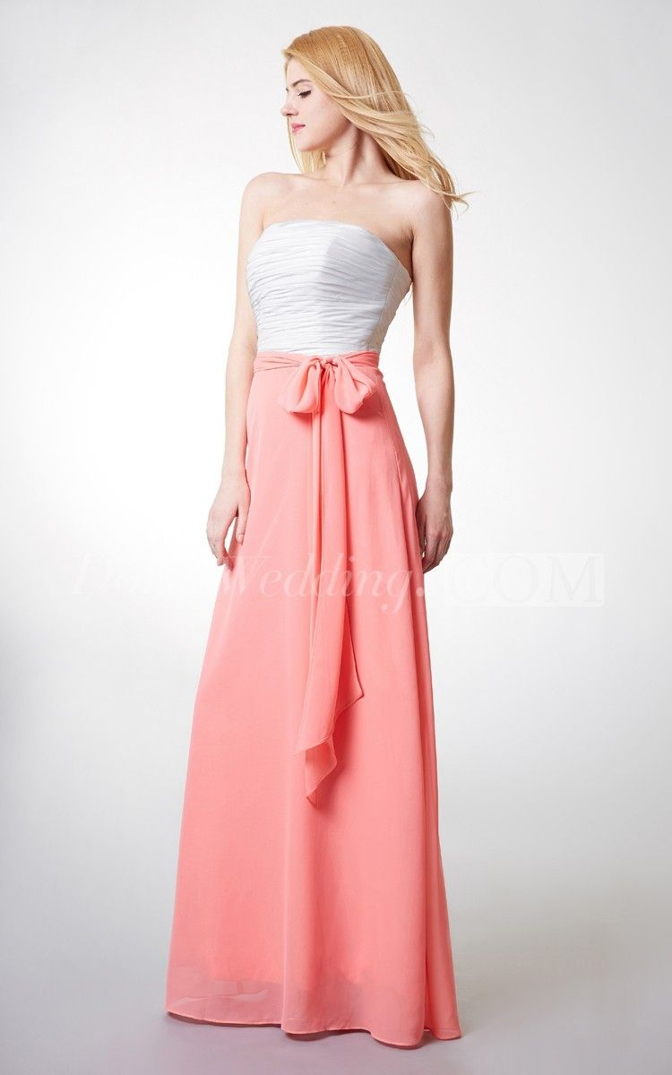 Sleeveless ruched aline long chiffon dress chiffon bridesmaid