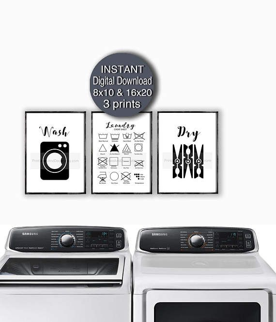 Laundry Printables Set Of 3 Prints A4 Wash Dry Laundry Care