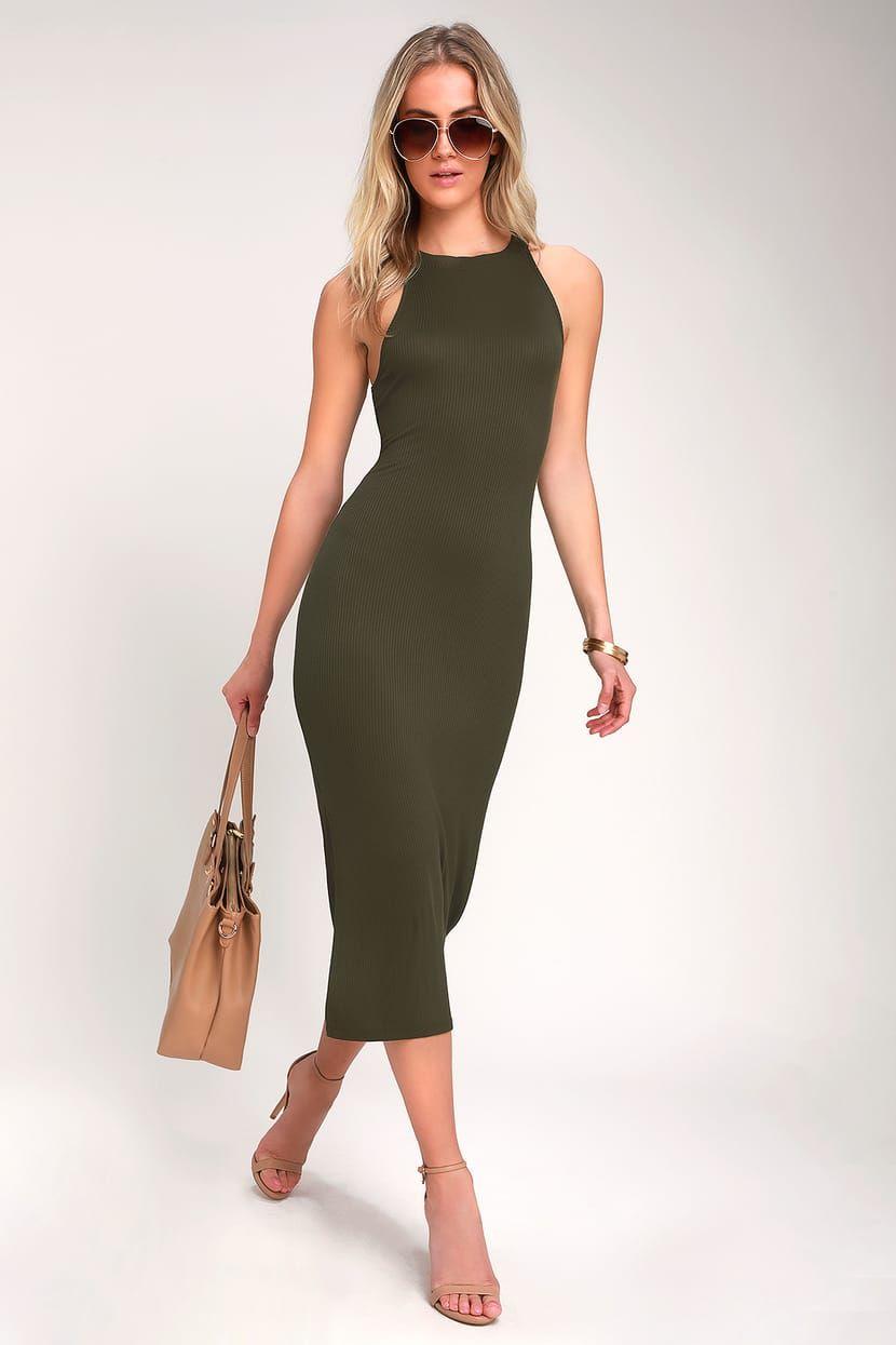 Want It All Olive Green Ribbed Bodycon Midi Dress Midi Dress Bodycon Ribbed Bodycon Midi Dress Midi Dress Sleeveless [ 1245 x 830 Pixel ]