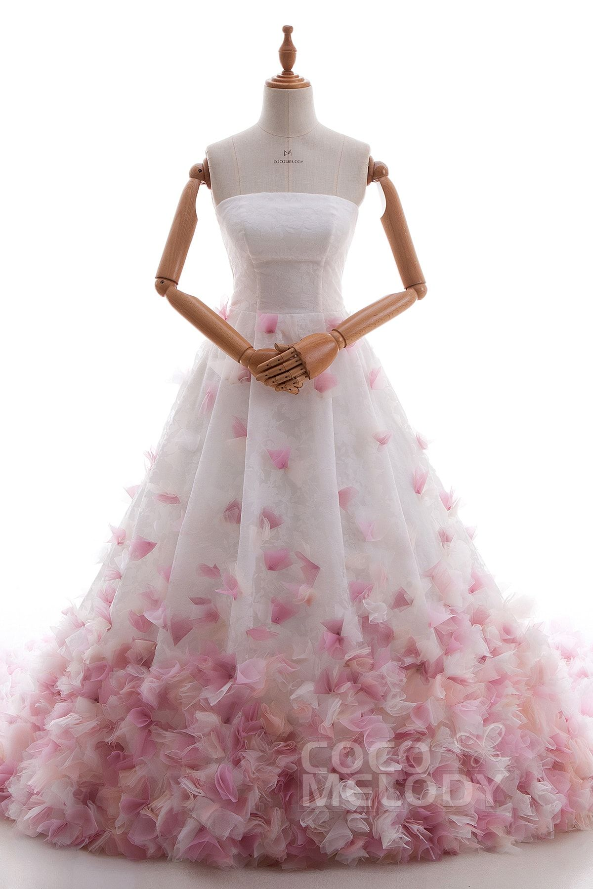 Fantastic+A-Line+Strapless+Natural+Chapel+Train+Satin+and+Organza+As+Picture+Sleeveless+Lace+Up-Corset+Wedding+Dress+with+Flower+LD4532