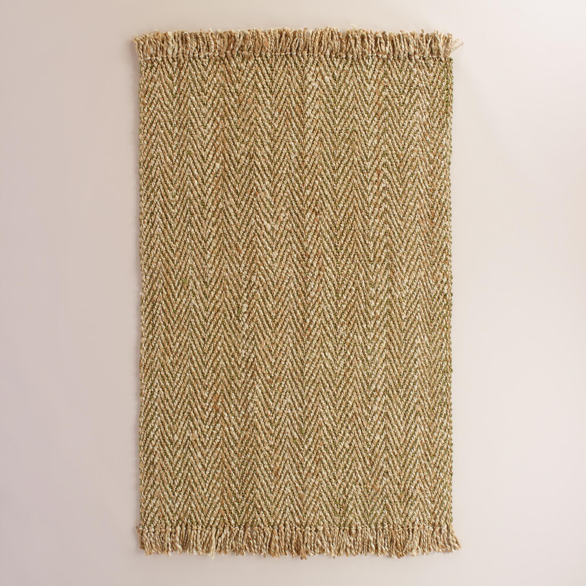 Green Herringbone Weave Jute Area Rug World Market