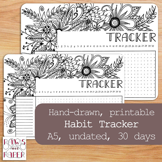 Printable Habit Tracker, 30 Days, Hand-Drawn Template, Perpetual - Perpetual Calendar Template