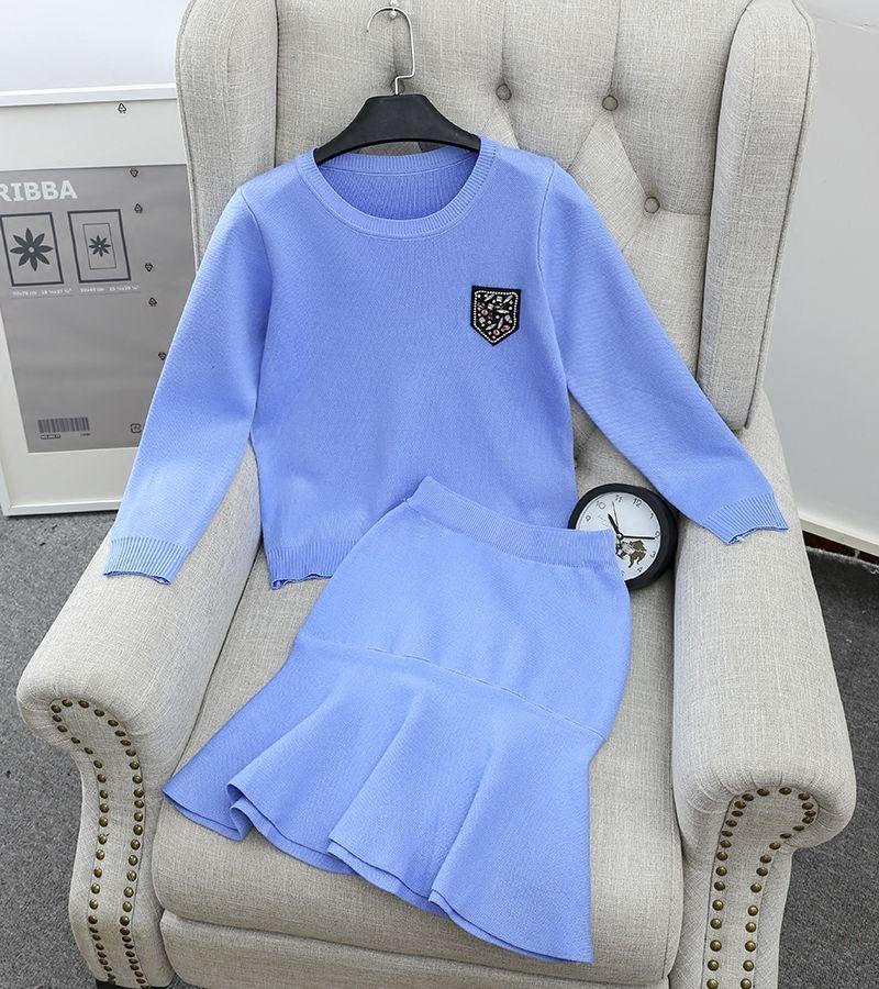 Insignia de diamante de Corea Preppy suéteres Jersey + Falda de cola de Pescado de Punto de Dos Piezas de Los Trajes para Las Mujeres Otoño Invierno Mujeres Al Por Mayor de