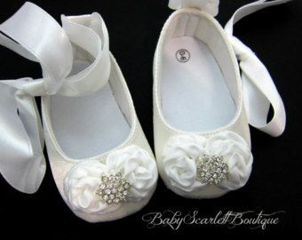 White Satin Baby Girl Shoes Crib Shoes Soft Sole Shoes Christening