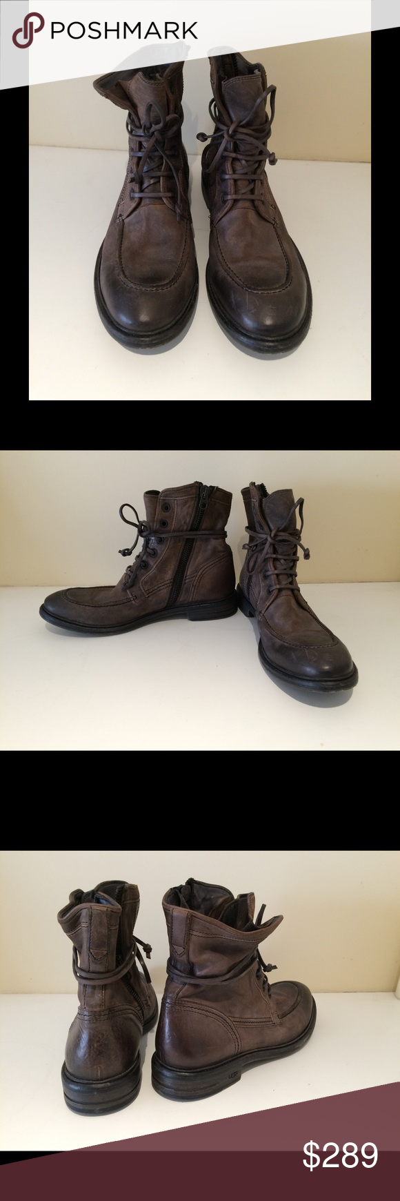 Ugg Collection Vanni Charcoal Boots 11.5 Men's charcoal Ugg Collection boots. Side zippers and lace up. Size 11.5. Great condition, like new with original box and duster bag. UGG Shoes Boots